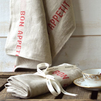 Ready to ship // BON APPETIT RED French country 2 Linen Towels/ shabby chic kitchen / as seen in Better Homes and Gardens