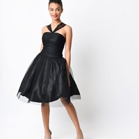 Preorder - Unique Vintage 1950s Black Dotted Mesh Halter Madison Swing Dress