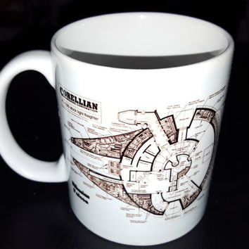 Star Wars Millennium Falcon Blueprint Plans Han Solo Mods Coffee Tea Mug