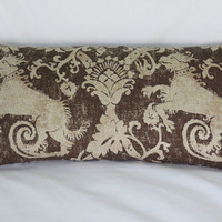 """Medieval Lion Pillow Cover, Brown and Beige Heavy Linen, 12 x 23"""" Lumbar, Distressed Heraldry Dragon or Dog, SCA or Cosplay, Ready Ship"""