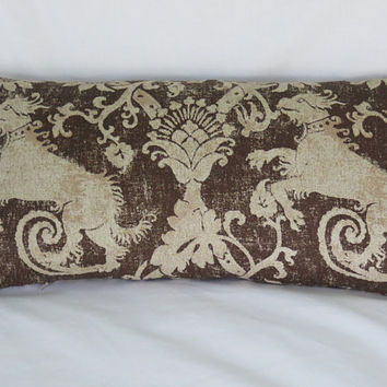 "Medieval Lion Pillow Cover, Brown and Beige Heavy Linen, 12 x 23"" Lumbar, Distressed Heraldry Dragon or Dog, SCA or Cosplay, Ready Ship"