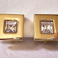 Givenchy Square Crystal Clip On Earrings Gold Tone Vintage Clear Faceted Rhinestones Polished Smooth Wide Band Luxury Pads