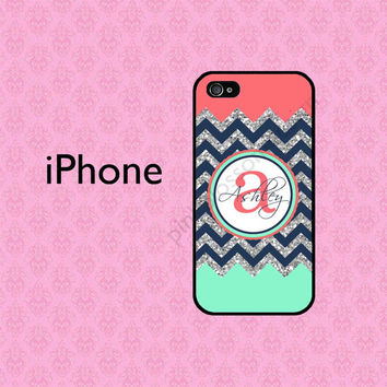 Coral Mint iPhone 5C Case , Personalized iPhone 4 Case , iPhone 5 Case , Chevron iPhone Case , iPhone 5S Case ( NOT REAL GLITTER )