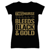 This Nurse Bleeds Black and Gold Football T Shirt - New Orleans Team Colors