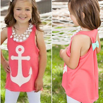 2016 Summer Children Baby Girls Kids Tanks Camis Bow Back Movie Anchor Tops Vest Slim Casual Sleeveless T-Shirt 3 4 5 6 7 Years