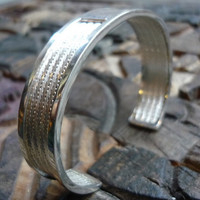 Sterling silver cuff with zircon stones silver by Ellishshop