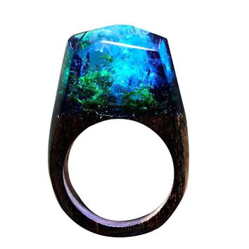 Handmade Wood Resin Male Ring Wooden Secret Magic Forest Band  Men's Jewelry Water Wave Hip Hop Fashion Punk Wood Rings For Men