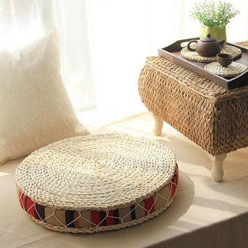 Cushions Round Pouf Natural Straw Round Pouf Tatami Cushion Floor Cushions  Meditation Yoga Round Mat Zafu Chair Cushion