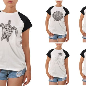 Women Zentangle stylized black see fish Printed T-shirt WTS_04