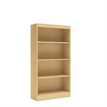 Natural Wood Finish Book Shelf Bookcase with 4 Shelves