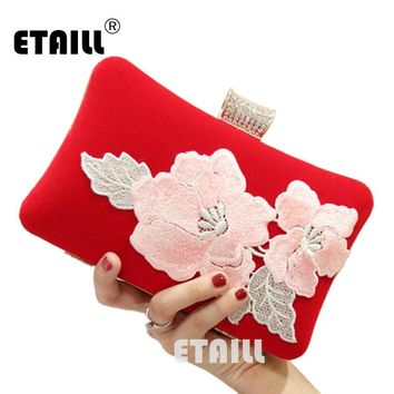 ETAILL Chinese Embroidery Women Evening Bag Appliques Day Clutch Wallet Wedding Purse Party Banquet Bag Red Velvet Shoulder Bag