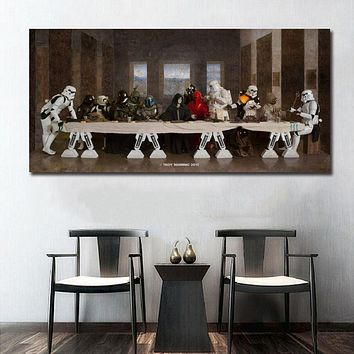 Star Wars Force Episode 1 2 3 4 5  The Last Supper Art Wall Art Paint Wall Decor Canvas Prints Canvas Art Poster Oil Paintings No Frame AT_72_6