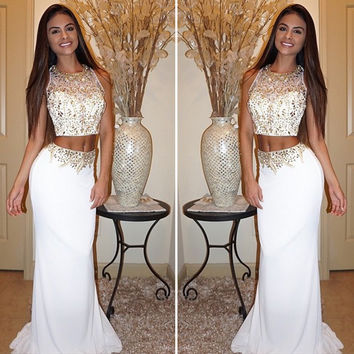 Hot Sale White Two Piece Prom Dresses O-Neck Golden Beaded Long Elegant Sleeveless Crop Top Mermaid Prom Dresses robe de soiree