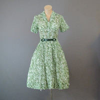 60s Green and White Print Dress, 34 bust, Zip Front, Sheer Voile, Vintage 1960s Dress