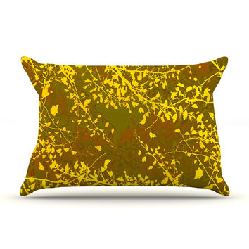 "Iris Lehnhardt ""Twigs Silhouette Earthy"" Brown Yellow Pillow Case"