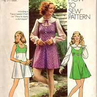 Groovy Retro Hippie Boho Style Mini Dress Simplicity 70s Sewing Pattern Jumper Wide Collar Puff Sleeve Blouse Bust 32