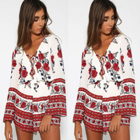Red Floral Print Bell Sleeve V-Neck Lace Up Rompers