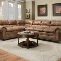 Light Brown,Two Piece Sofa | Rochester Hazelnut 2 Piece Sectional Sofa
