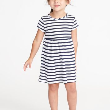 Striped Jersey Babydoll Dress for Toddler Girls|old-navy
