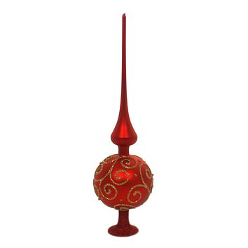 Inge Glas BAROCCO RED MATTE FINIAL Glass Tree Topper Free Standing 20200T033