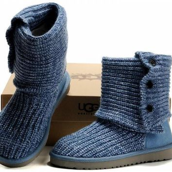 UGG Knitted thick wool snow boots BLUE