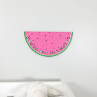 Watermelon Nursery Sign You're One In A Melon wooden nursery art piece laser cut watermelon pink You're one in a million Modern Nursery art