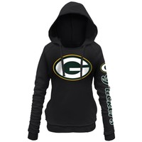 Women's Green Bay Packers 5th and Ocean by New Era Black Snap Count Pullover Hoodie