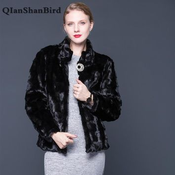 Ladies natural mink coat collar collar fashion jacket mink coat long sleeve black elegant leather fur coat international collar