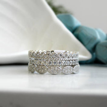 Art Deco Wedding Ring Set .Sterling Silver Set Of Three Rings- Engagement Ring -Full Eternity Band - Vintage Style Band - Stacking Ring