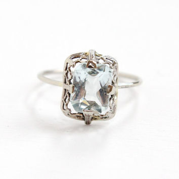 Antique Art Deco 14k White Gold Aquamarine Ring - Vintage 1930s Era Filigree Fine Jewelry Stick Pin Conversion Pale Blue Gemstone