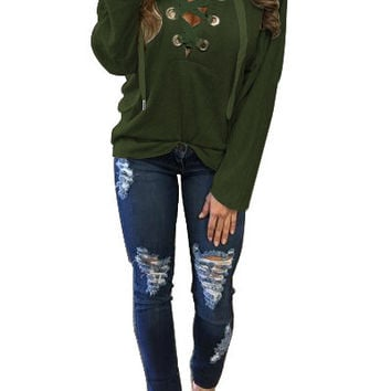 New Style Bandage Hoodies 2016 Autumn Winter Long Sleeve Lace Up Pullovers Top Women Deep V-neck Warm Hooded Sweatershirt LX112
