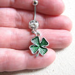 Shamrock Belly Ring - St Patricks Day Irish Jewelry, Belly Button Jewelry Lucky 4 Leaf Clover Charm Bellybutton Ring  Belly Button Ring