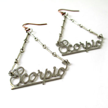 Scorpio. Silver Astrological Sign Zodiac Earrings. Free Worldwide Shipping