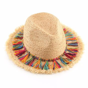 Summer Beach Hat For Women Fashion Tassel Panama Raffia Straw Hats Ladies Casual Sun Hat Casquette Feminios