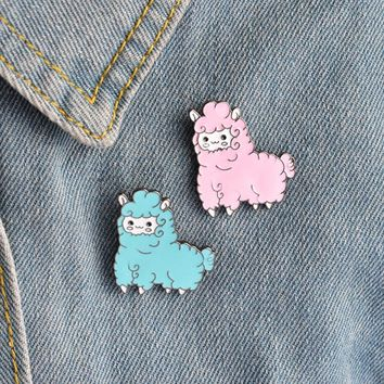 Cute  Alpaca Jewelry Gift Brooch Jacket Collar Lapel Badge Pins Button Pin Enamel