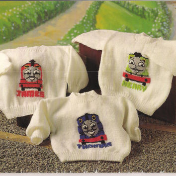 Thomas the Tank Engine Sweaters, PDF instant Download Knitting Pattern, Thomas, Henry, James
