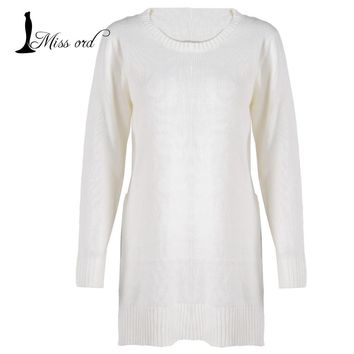Fashion round neck long-sleeved two split sweater FT2811
