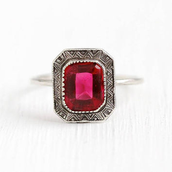 Antique Sterling Ring - Vintage Sterling Silver Simulated Ruby Stick Pin Conversion - Size 7 1/4 Art Deco 1920s Pink Red Glass Stone Jewelry