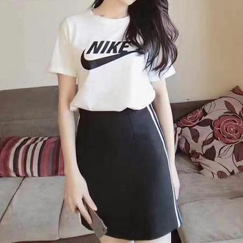 """Nike"" Women Sport Casual Stripe Letter Print Short Sleeve Skirt Set Two-Piece Sportswear"