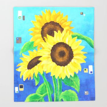 Sunflowers on Blue Throw Blanket by NJoyArt