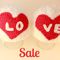 """SALE Newborn crochet set  """"LOVE""""  , 0-3 months, soft fuzzy yarn, can be made to order in other size"""