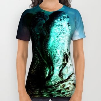 The Alligator that Wears the Rainbow Rays  All Over Print Shirt by Distortion Art