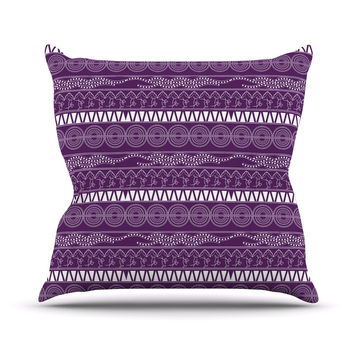 "Famenxt ""Pattern Purple"" Lavender Abstract Outdoor Throw Pillow"
