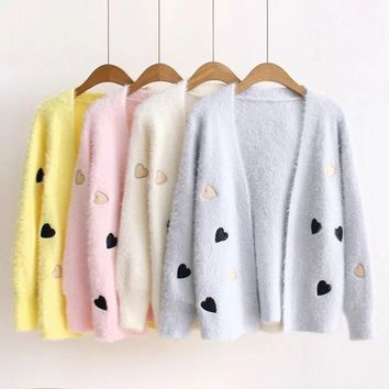 Women fashion winter Autumn sweet heart Mohair sweater candy color embroidery cardigan solid  ladies knitting sweater jackets