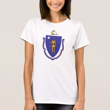 Women T Shirt with Flag of Massachusetts State
