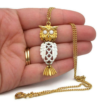 Vintage Owl Pendant Gold Tone & White Enamel Articulated Dangling Owl Bird Necklace - Glass Bead Eyes Goldtone Chain
