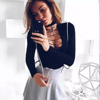 New long-sleeved t-shirt female long-sleeved tie-up shirt
