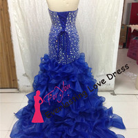 Particular Sweetheart Heavy Silver Beading Bodice Rhinestones Mermaid Prom Dress Royal Blue Evening Gown Ruffled Organza Trumpet Party Gown