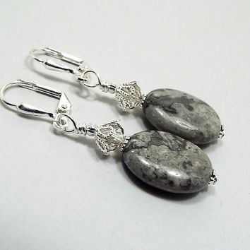Silver Crazy Lace Gemstone Earrings, Silver Plated, Oval Drop, Gray Marbled, Boho Earrings, Gift for Her, Lever Back Hook