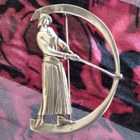MFA Lady Golfer Sterling Silver Brooch - Golf clubs swing - signed museum of fine arts - gift for golfer - golfing - sports - art deco style